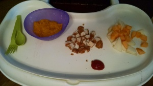 Organic Chicken Nuggets ketchup for dipping, mango and apple as well as butternut squash